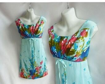 Vintage 60s Dress Size M L Blue Hawaiian Cotton Sun Empire waist Shift Floral
