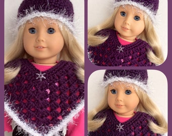 Doll Clothes Made To Fit American Girl, Crochet 2 Pc Poncho Set, Plum ICE SPARKLE, 18 Inch Doll Clothes