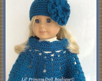 Doll Clothes, Made To Fit American Girl, Crochet Poncho Set, OCEAN BLUE, 18 Inch Doll Clothes