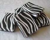 Gift Boxes, Zebra Animal Print, Jewelry Gift Boxes, Small Boxes, Favor Boxes, Black and White, Cotton Filled 3 x 2 1/8 x 1 Pack 10