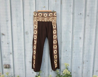 Med. Ethnic Tribal Bohemian Upcycled Brown Pants// emmevielle