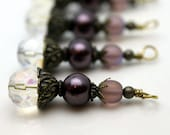 Clear Round Multifaceted Crystal with Mauve Pearl, Frosted Glass and Brass Vintage Style Earring Dangle Necklace Charm Set