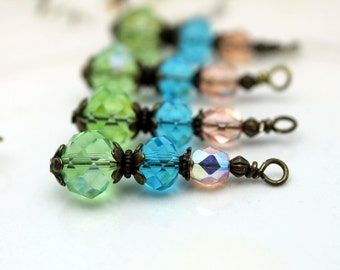 Vintage Style Green, Aqua Blue and Peach Crystal Rondelle Bead Dangle, Earring Dangle Charm Pendant Drop Set, Jewelry Making, Components
