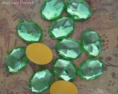 Vintage Cabochons - 13x18 mm Peridot Green West German Faceted Glass Stones