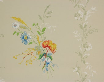 1920's Vintage Wallpaper Orange Yellow Blue Flower Bouquets on Green--Made in Belgium
