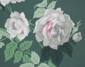 1940's Vintage Wallpaper Large White and Pink Cottage Roses on Dark Green--by the Yard