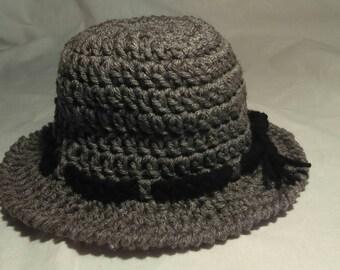 Gray Toddler Crocheted Sunhat Size 6-12 Months