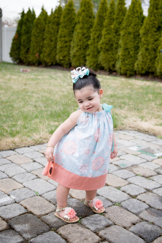Girls Summer Peachy Dress, SALE,Handmade, Easter dress,Cotton, Pillowcase dress  Babies,Toddlers,Ready to Ship ,Preteen