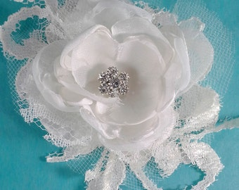Bridal Hair rose, Ivory Lace, Organza Rose Hair Clip L261 - bridal wedding hair accessory