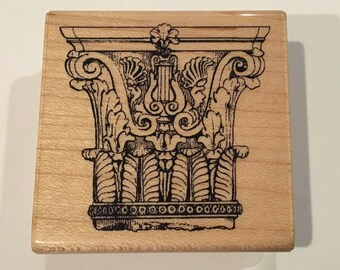 Architectural Column Detail Wood Mount Rubber Stamp