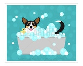 179D Tricolor Pembroke Welsh Corgi Print - Corgi Dog in Bubble Bath Wall Art - Bathroom Art - Corgi Art - Bath Decor - Dog Drawing - Dog Art
