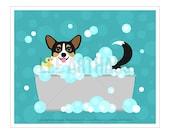 179D Tricolor Pembroke Welsh Corgi Print - Corgi Dog in Bubble Bath Wall Art - Bathroom Art - Corgi Art - Bath Decor - Dog Drawing - Dog Art