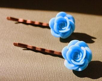 Blue Flower Bobby Pins - Acrylic Floral Cabochon Hair Pins