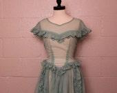 Vintage 1940's Sheer Mint Green Dress S