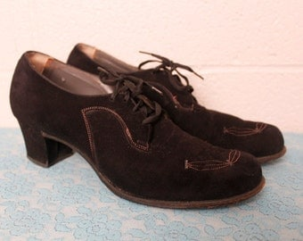 Vintage 1930's 1940's Black Suede Lace Up Heels Shoes 8 1/2 AA