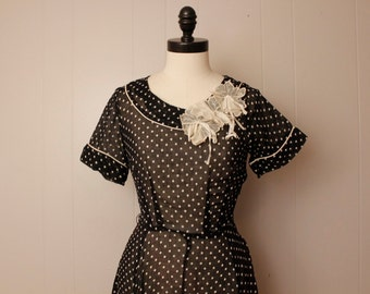 Vintage 1940's 1950's Navy Polka Dot Martha Mannings Sheer Dress 28 waist