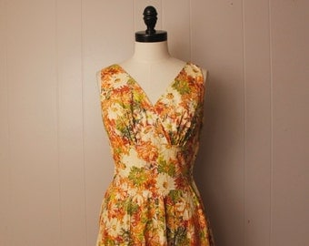 Vintage 1950's Yellow Floral Cotton Kerry Brooke Cotton Dress S