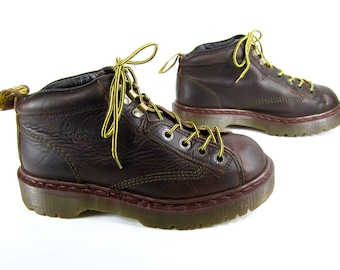 vintage 1990s dr MARTENS dark brown leather lace up ankle booties made in ENGLAND grunge docs U S womens 8 AIR wair boots bouncing souls