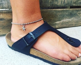 Stainless Steel Bead Chain Anklet with Sterling Silver Star Fish Charm