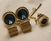 Swank Rivoli Rhinesone Mesh Wrap Around Cuff Links Cufflinks Tie Tac