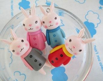Colorful Bunny rabbit doll charm 4pcs 51mm x 18mm NEW item