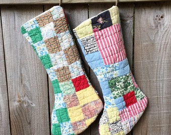 Two Vintage Upcycled Patchwork Quilt Holiday Christmas Stockings