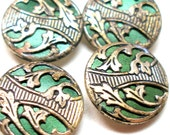 "Art Nouveau BUTTONS, 4 Antique Edwardian flowers in green, 5/8"" Made in Austria."