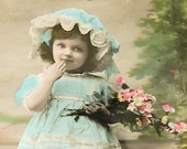 1900s French postcard, Girl with flowers, RPPC paper ephemera.