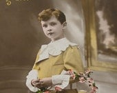 Antique French postcard, Edwardian boy in yellow, RPPC paper ephemera.