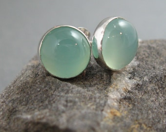 8mm Light Blue Chalcedony Post Earrings, Chalcedony Studs, Artisan Earrings, Handmade Earrings, Natural Chalcedony Studs