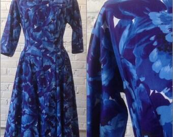 1950s-60s Bold Floral Cotton Dress (M)