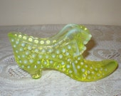 Fenton HobNail Translucent Yellow Uranium Vaseline Glass Cat Slipper Shoe Glows Green Puss In Boots