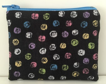Chalk Dots Coin Purse - Polka Dotted Cotton Change Purse - Small Zipper Pouch - Blue