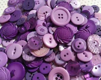 Purple Buttons - Sewing Button - Lavender Deep Plum Buttons - 120 Buttons - Vineyard