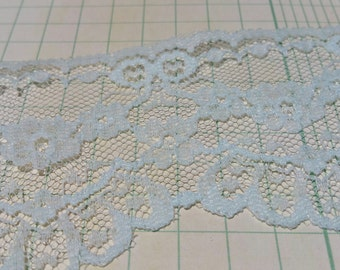 """Vintage Light Blue Lace - Scalloped and Floral Trim - 2 1/4"""" Wide"""