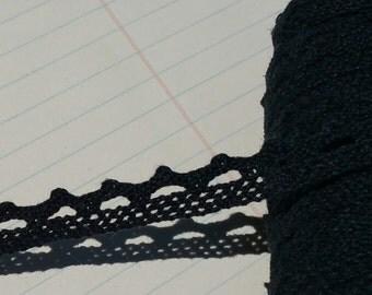 "Black Cluny Lace - Narrow Black Cluny Crochet Torchon Trim - 1/2"" Wide"