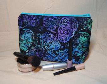 Black Batik Calaveras - Large Padded Cotton Cosmetic Bag Zipper Pouch Inside Pocket