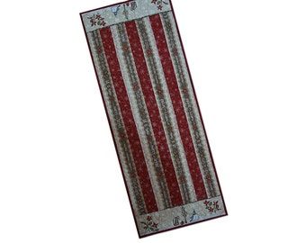 Christmas Holiday Table Runner Quilted Red Patchwork Free USA Shipping