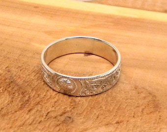 Celtic Knot Sterling Silver Patterned Band Ring 7mm wide