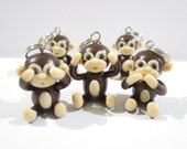 Monkey Stitch Markers See no evil, Hear no evil, Speak no evil monkey charms, 3 wise monkeys, knitting accessories, animal, gift her knitter