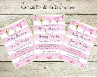 Pink Watercolor Stripes,  Printable Custom  Invitation, Baby Shower, Bridal Shower, Birthday, invitation