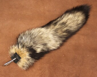 Fox tail - real eco-friendly wild kit fox fur totem tail on carabiner keychain purse charm for shamanic ritual and dance KT01
