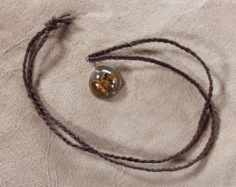 Coffee beans in plant-based resin with braided hemp cord - simple nature jewelry ecoresin bioresin bio eco resin