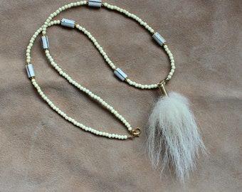 Real fox tail fur necklace with bone and ceramic beads - simple nature jewelry for costumes, holidays, more
