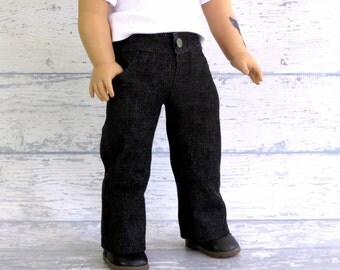 Boy Doll Black Jeans, 18 inch Doll Clothes Jeans with Pockets, opening front waistband and fly, fits American Boy Doll