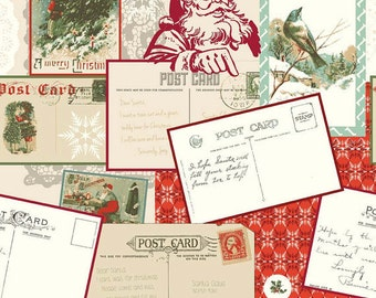 Postcards from Santa in Red by Riley Blake C4750  Available in Yards, Half Yards and Fat Quarters