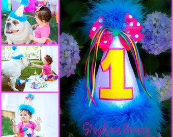 Number Birthday Hat,  Name Added Free, Princess Number Hat,  You Choose Colors,  by GINGHAM BUNNY