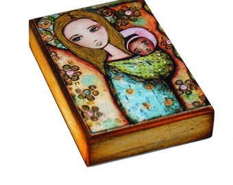 Mother with Girl -  Giclee print mounted on Wood (6 x 8 inches) Folk Art  by FLOR LARIOS