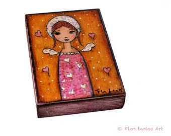 Angel in Wonderland - ACEO Giclee print mounted on Wood (2.5 x 3.5 inches) Folk Art  by FLOR LARIOS