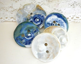 Fossilised,  A Set Of 5 Large Sew On Buttons